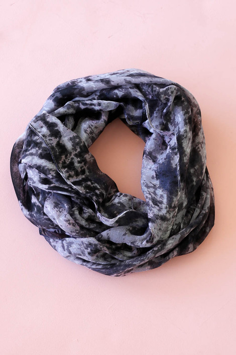 Black - and Grey Tie-Dye Lightweight Scarf