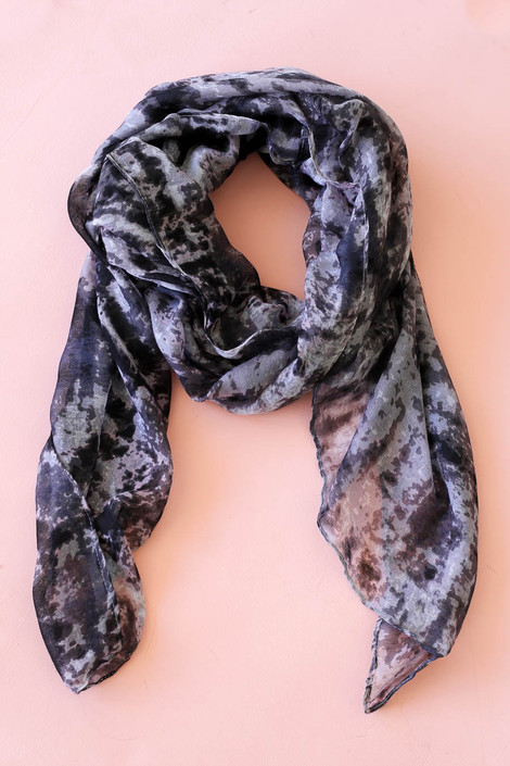 Black - and Grey Tie-Dye Lightweight Scarf Flat Lay