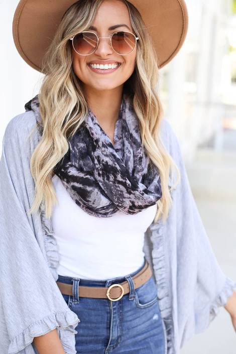 Black - and Grey Tie-Dye Lightweight Scarf on Model