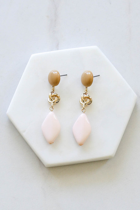 Blush - Geometric Knot Drop Earrings Flat Lay