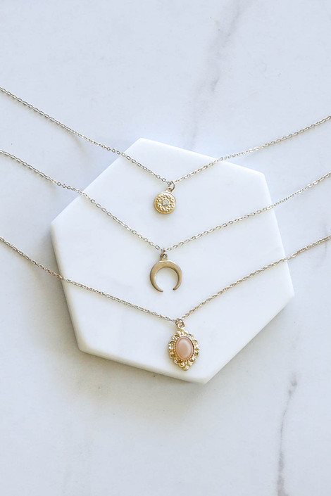 Gold - Tri-Layer Boho Necklace Flat Lay