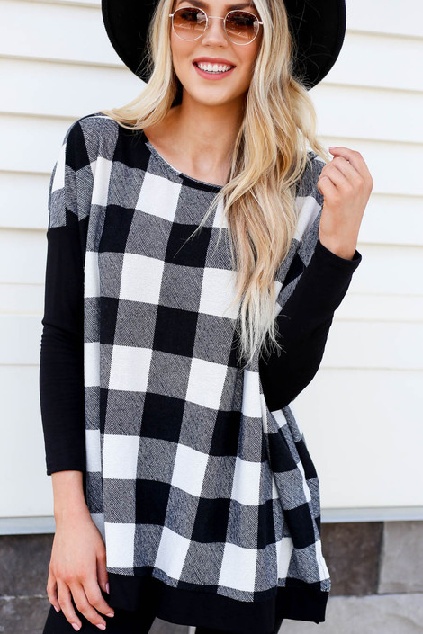 White - and Black Buffalo Plaid Top Detail View
