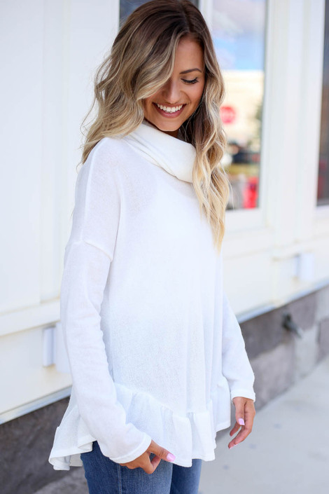 White - Cowl Neck Knit Sweater Side View