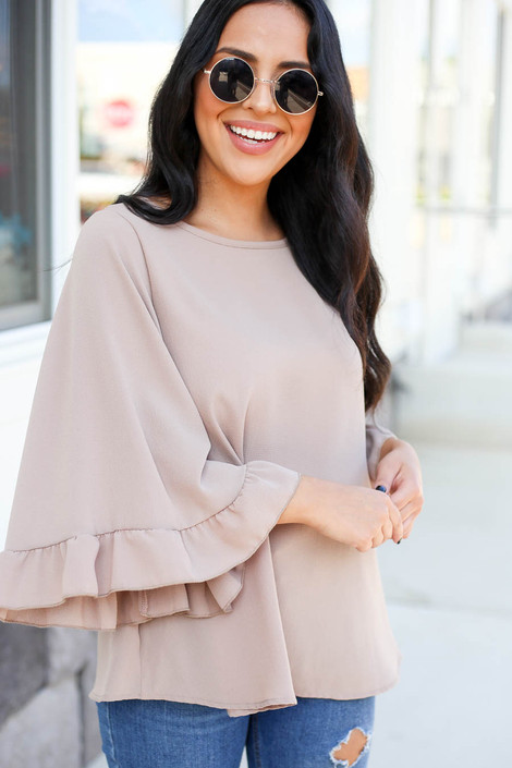 Mocha - Wide Sleeve Ruffle Top