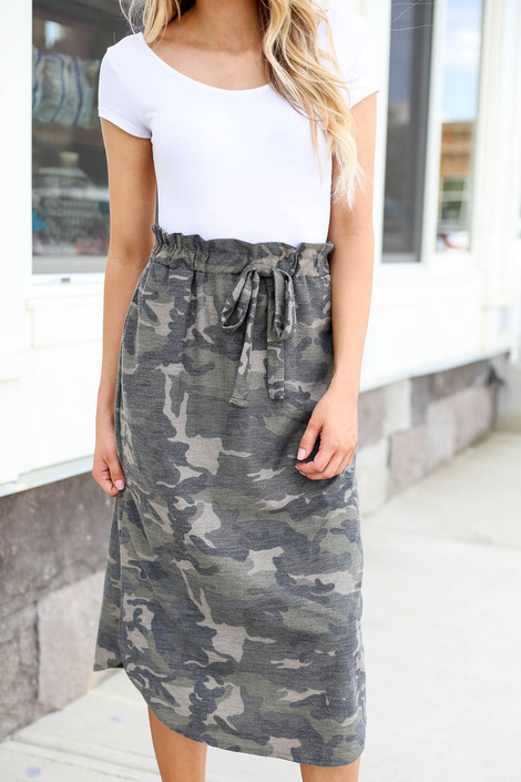 Olive - Camo Paperbag Waist Midi Skirt Detail View