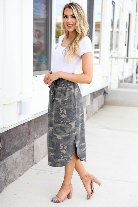 Model wearing Olive Camo Paperbag Waist Midi Skirt Side View