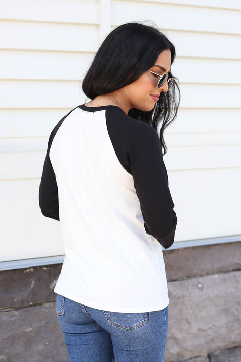 Model wearing Ivory Young + Wild Bull Head Baseball Tee Back View