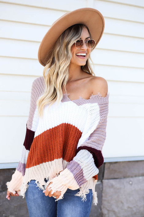 Mocha - Model wearing Taupe Striped Distressed Sweater Front View