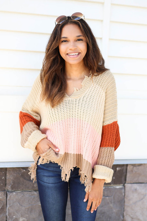 Taupe - Striped Distressed Sweater