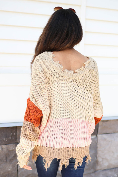 Taupe - Striped Distressed Sweater Back View