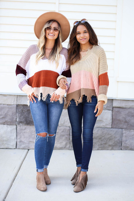 Model wearing Taupe and Mocha Striped Distressed Sweater s