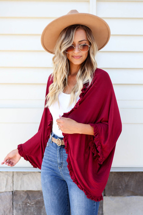 Burgundy - Ruffle Trim Cardigan