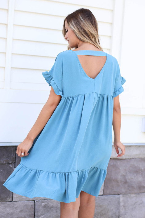 Teal - Ruffle Babydoll Dress Back View