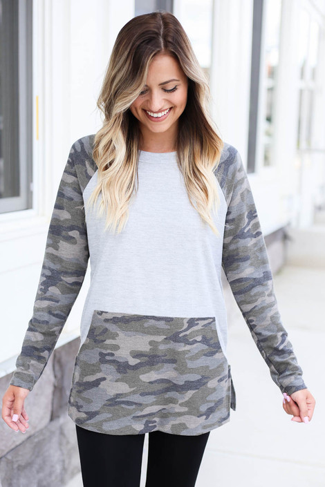 Collin Camo French Terry Pullover Front