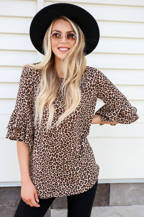 Taupe - Eli Leopard Ruffle Sleeve Blouse Front