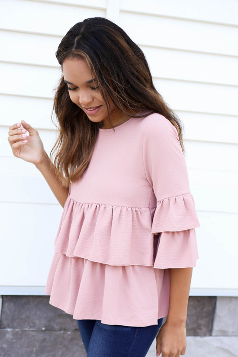 Blush - Phoebe Ruffle Tiered Blouse Blush Side