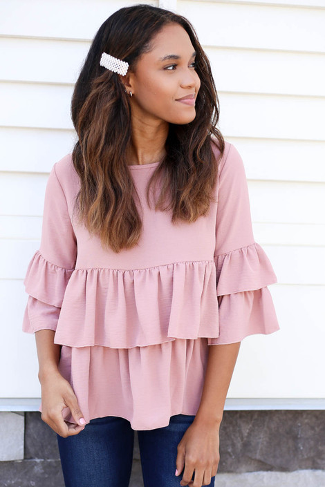 Blush - Phoebe Ruffle Tiered Blouse Blush Front