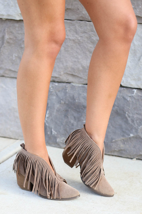 Taupe - Fringe V-Cut Booties on Model