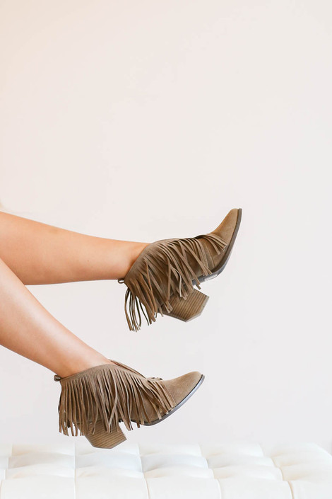 Taupe - Fringe V-Cut Booties