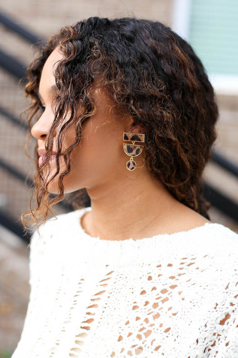 Leopard - Geometric Earrings on Model