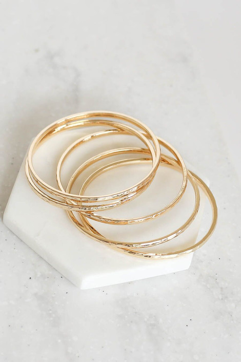 Gold - Stacked Hammered Bangle Set Flat Lay