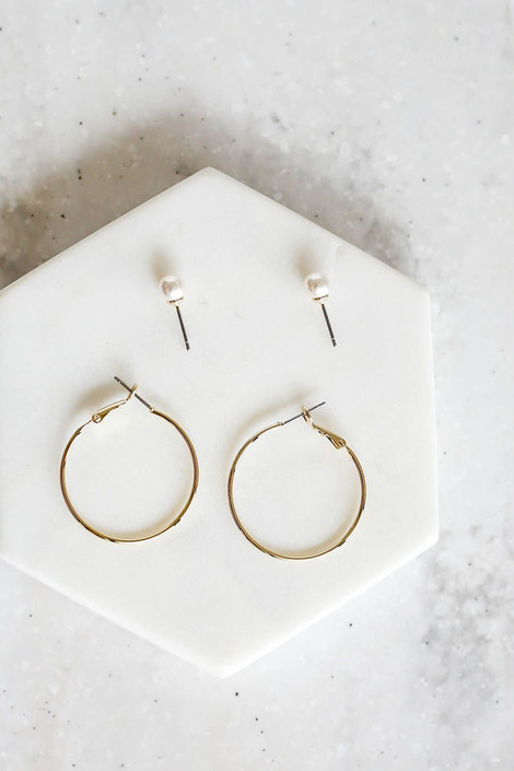 Gold - Hoop and Pearl Earring Set