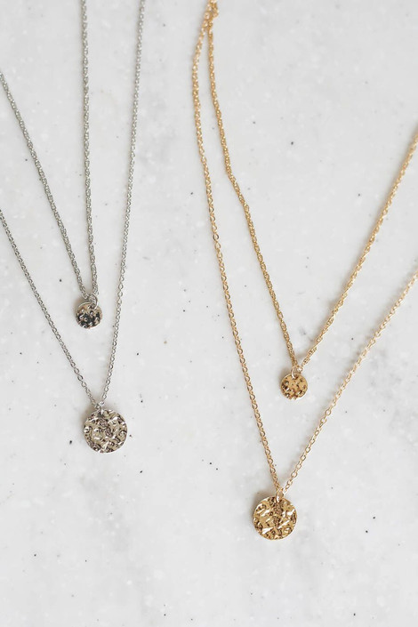 Gold - and Silver Layered Coin Necklace Set