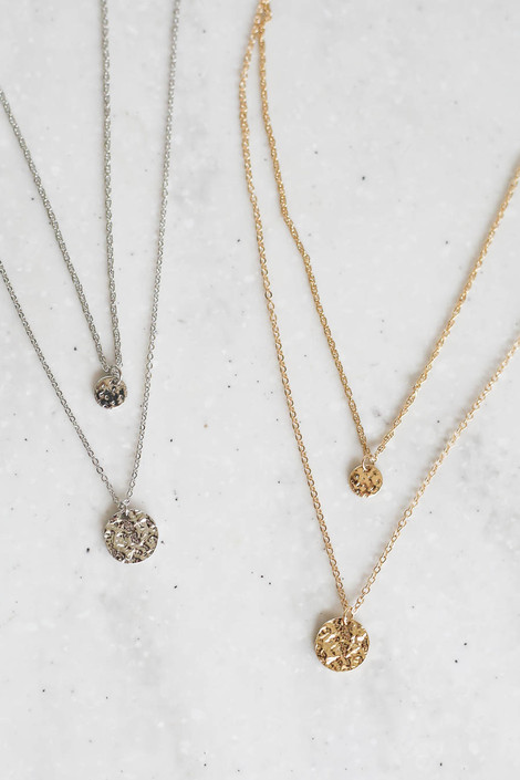 Gold and Silver Layered Coin Necklace Sets Flat Lay