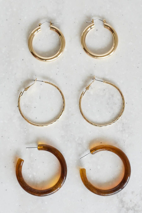 Gold - The Britni Hoop Earring Set in order smallest to largest.