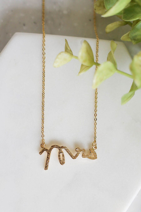 """Gold - necklace with cursive """"Mrs"""" connector"""