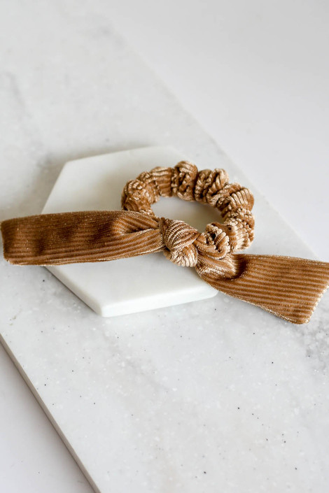 Tan - Velvet Scrunchies Flat Lay