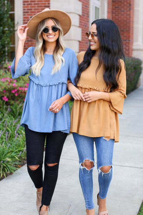 Denim - and Mustard Ruffled Tunic