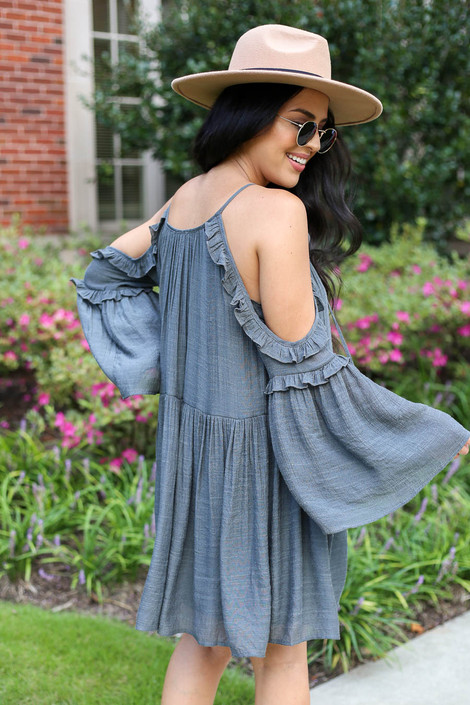 Charcoal - Cold Shoulder Babydoll Dress Back View