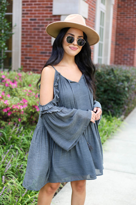 Model wearing Charcoal Cold Shoulder Babydoll Dress Front View