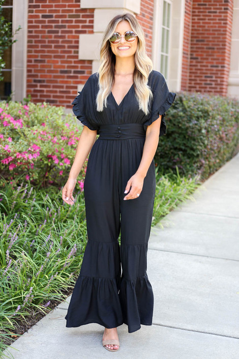Black - Short Sleeve Tiered Leg Jumpsuit