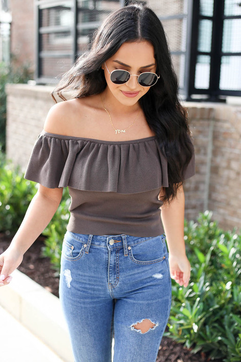 Model wearing Grey Off the Shoulder Flounce Top Front View