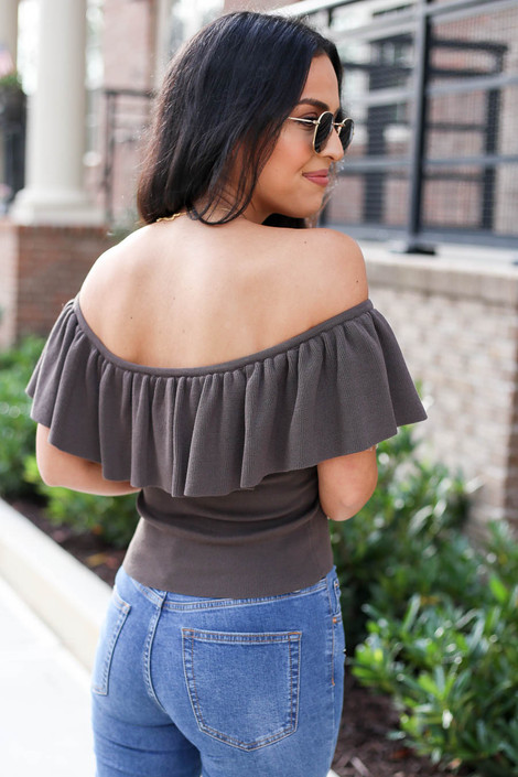 Grey - Off the Shoulder Flounce Top Back View