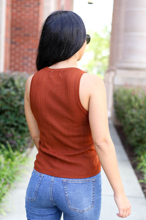 Rust - Ribbed Tank Top Back View