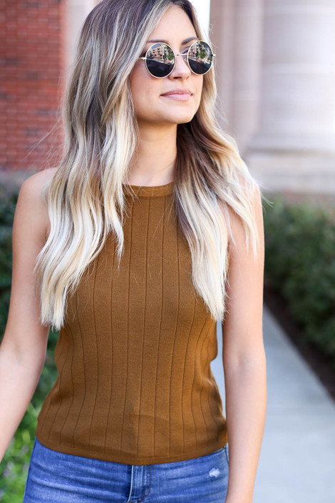 Model wearing Olive Ribbed Tank Top