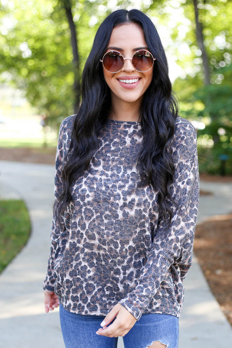Leopard - Print Knit Top