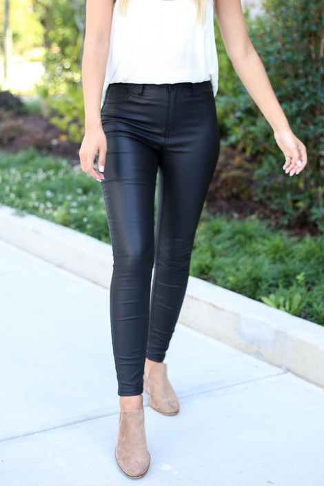 Black - Vegan Leather Skinny Jeans Detail View