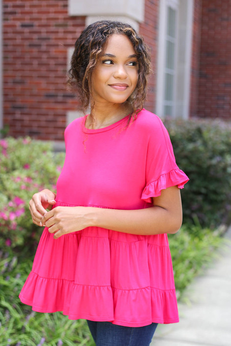 Fuchsia - Tiered Ruffle Top Side View