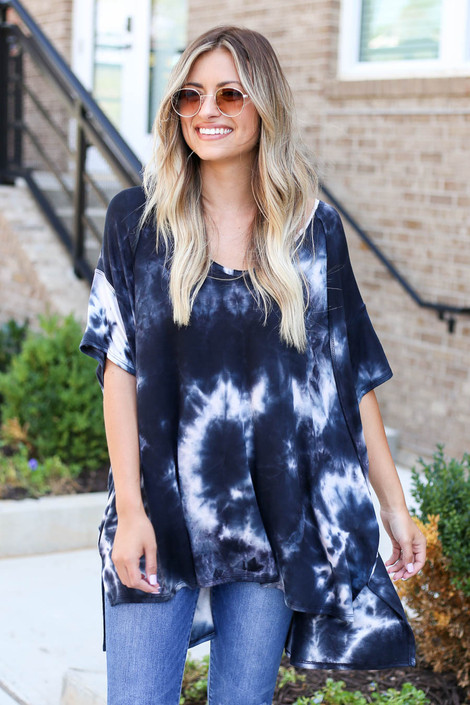 Charcoal - Short Sleeve Tie-Dye Top