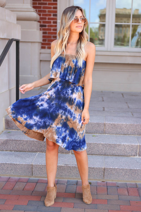 Navy - Strapless Tie-Dye Dress Full View