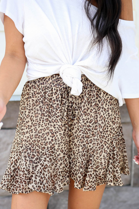 Taupe - Ruffled Leopard Shorts