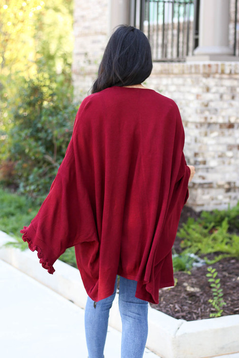 Burgundy - Oversized Ruffled Cardigan Back View