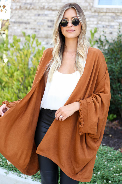 Camel - Oversized Ruffled Cardigan