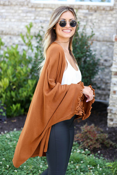 Camel - Oversized Ruffled Cardigan Side View