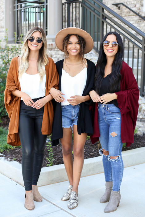 Models wearing Black, Camel, Burgundy Oversized Ruffled Cardigans