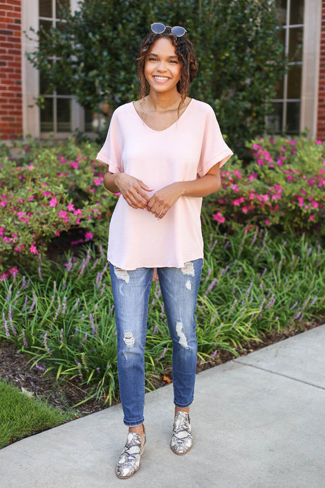 Model wearing Blush Scoop Neck Blouse Full View